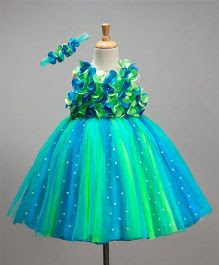 Li&Li Boutique Netted Flower Dress - Blue & Green