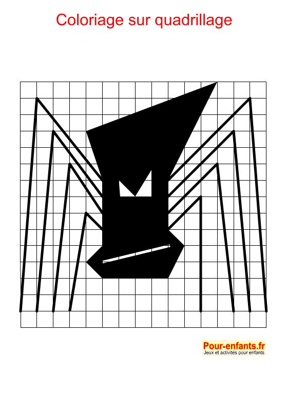 Coloriage géométrique pour Halloween. Araignée d'Halloween à imprimer.