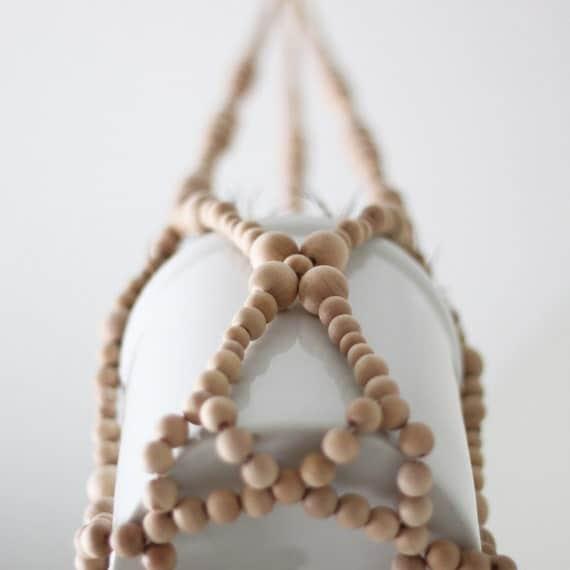 Beaded Hanging Planter / Scandinavian Modern Plant Holder / Natural Wood Beads / Spring Decor