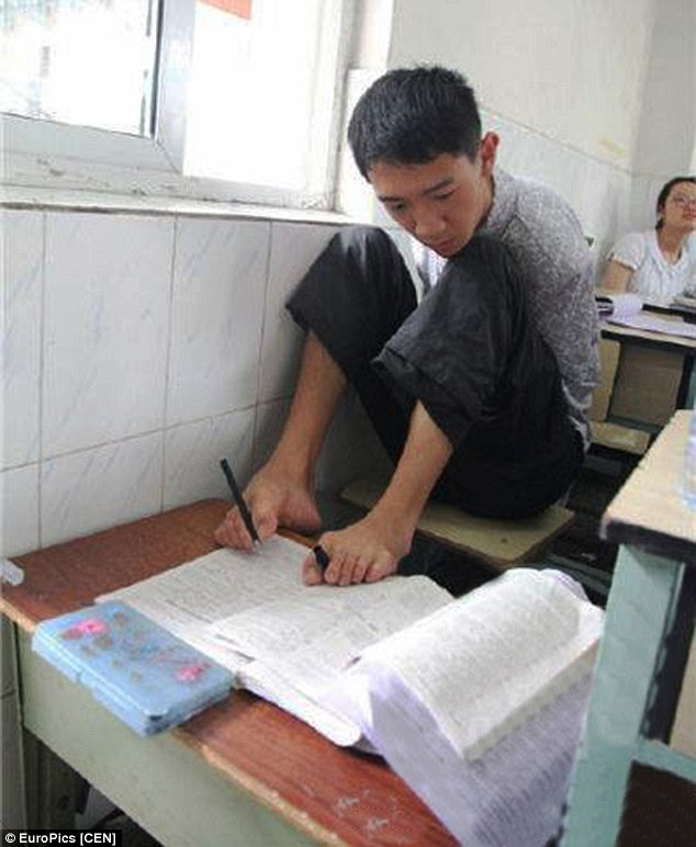 Inspiration: Peng Chao, 20, got 80 percent in the notoriously difficult gaokao exams earlier this month