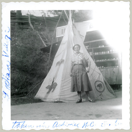 woman and teepee