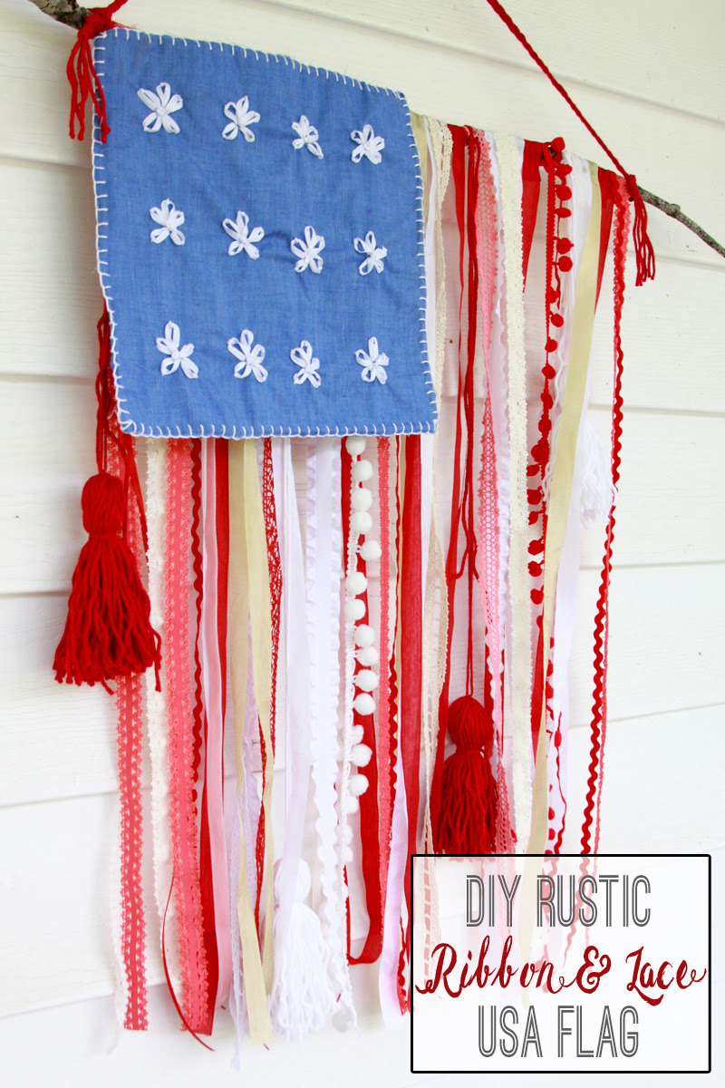 DIY Rustic Ribbon and Lace USA Flag