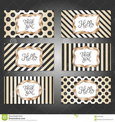 Set Of 6 Vintage Card Templates In Gold, Black And White