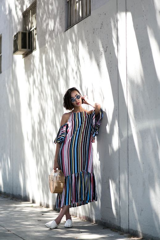 Le Fashion Blog Storets Striped Cold Shoulder Dress Wicker Tote White Flats Via The Chriselle Factor