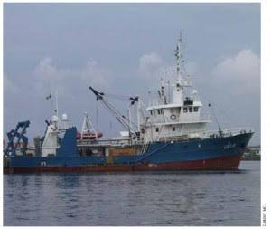 An oil platform supply  vessel in Port Hartcourt, Nigeria.