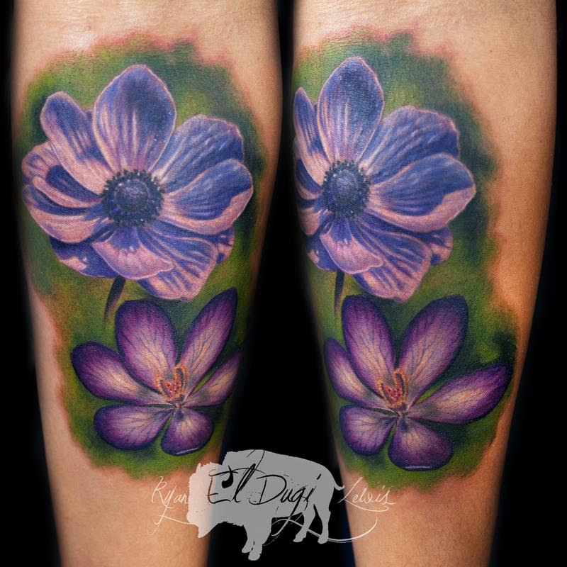 Ryan El Dugi Lewis Tattoos Dark Skin Color Flowers
