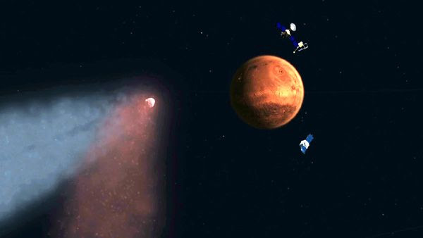 An illustration of NASA's Mars Reconnaissance Orbiter and MAVEN spacecraft, as well as Europe's Mars Express probe, orbiting the Red Planet as comet Siding Spring passes by.