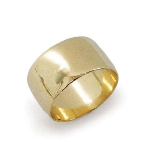 Wide gold wedding ring. Wide rounded wedding ring. 14k yellow