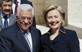 Abbas and Clinton in Ramallah (Photo: AFP)