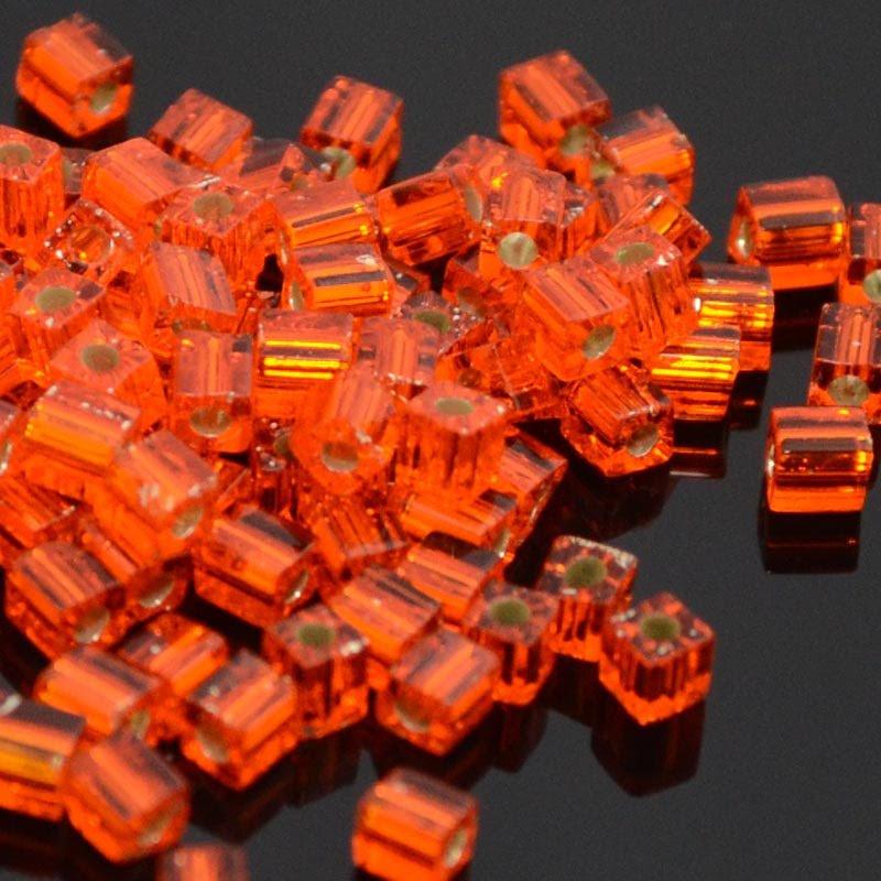 sb3-0008 Miyuki - 3 mm Japanese Cubes - Silver Lined Screaming Orange