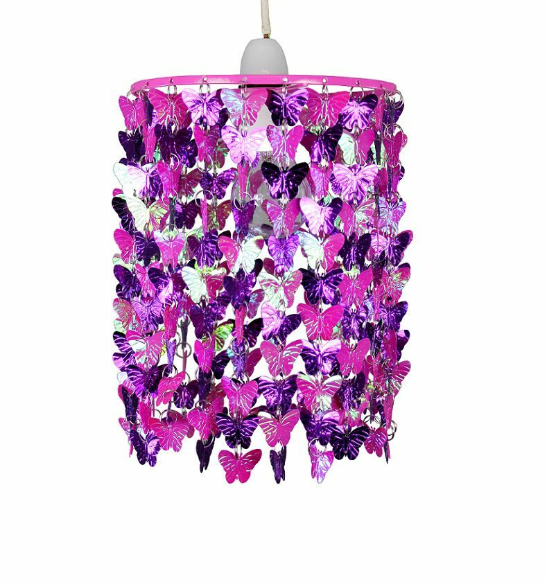 Modern Girls Kids Pink & Purple Butterflies Ceiling Light Pendant