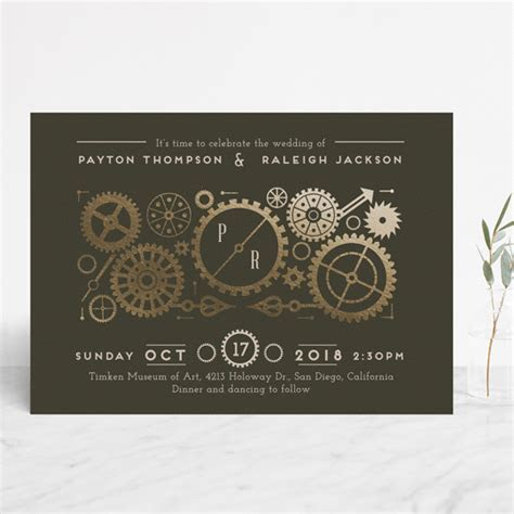 Steampunk Foil Pressed Wedding Invitations by Katie Zimpel