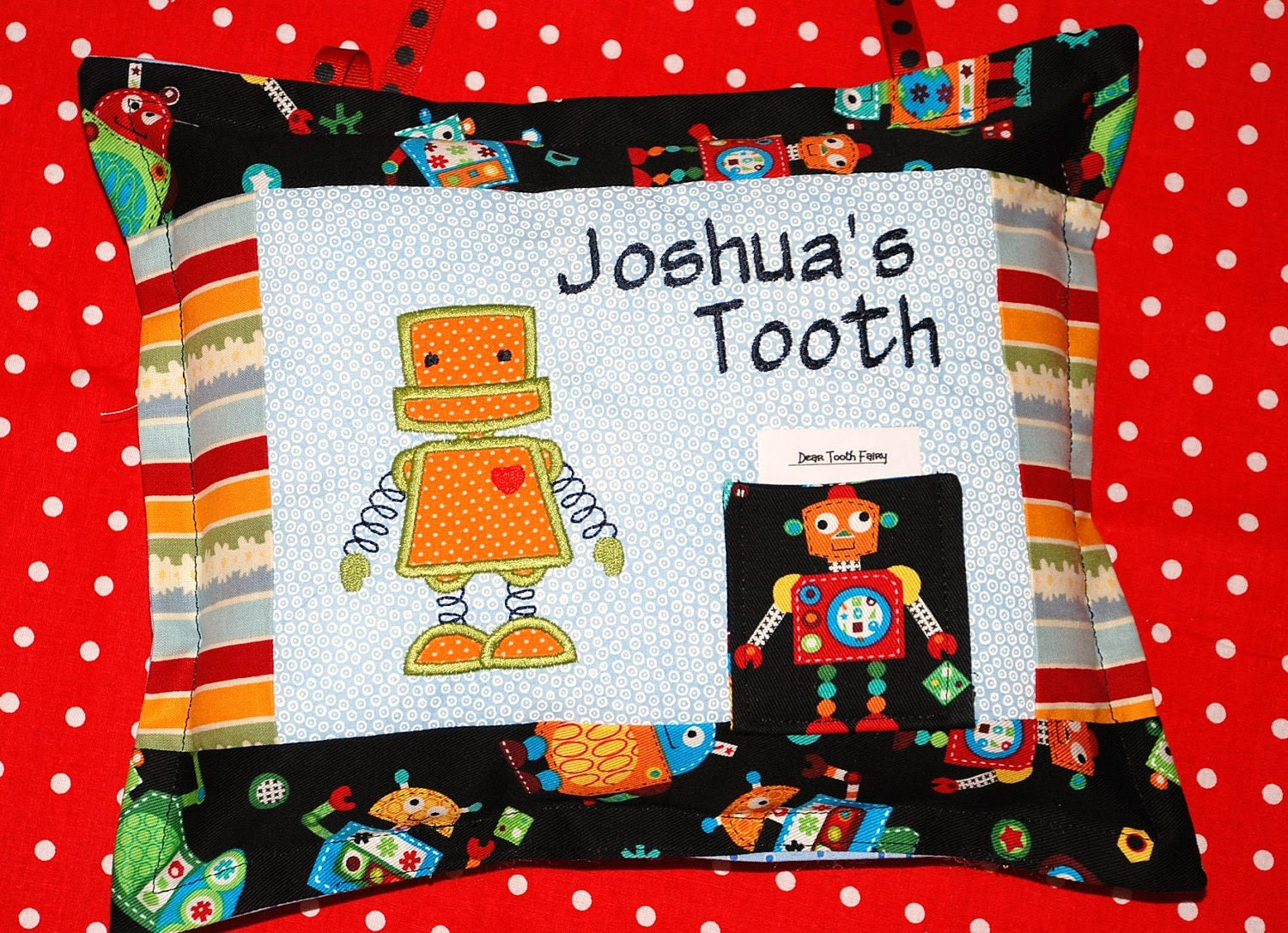 New item Boys personalized robot themed tooth fairy pillow with poem to tooth fairy