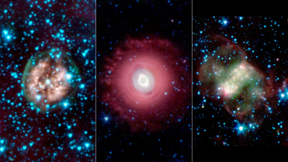 This trio of ghostly images from NASA's Spitzer Space Telescope shows the disembodied remains of dying stars called planetary nebulas