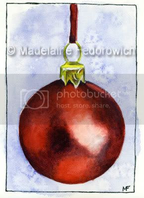 Red Christmas Bauble ACEO
