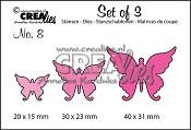 Set of 3 stansen no. 8 Vlinders 4 / Set of 3 dies no. 8 Butterflies 4