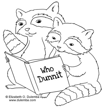 dulemba coloring page tuesday reading raccoons. Black Bedroom Furniture Sets. Home Design Ideas