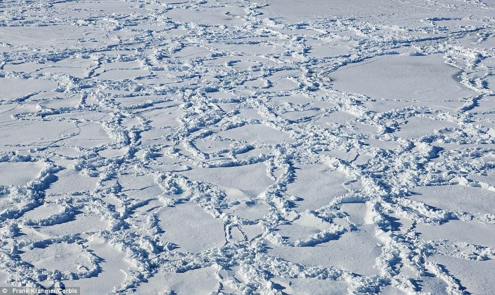 A huge pack of frozen ice in Antarctica