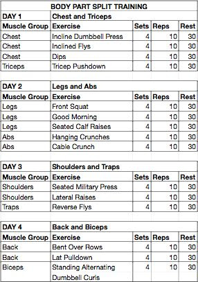 Daily Weight Lifting Schedule | Daily Planner