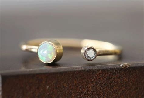 Open Cuff Diamond   Opal Ring ? Alexis Russell