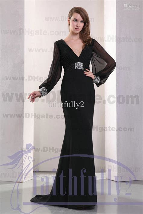 Black Empire Evening Dress V Neck Long Sleeves Ruched Band