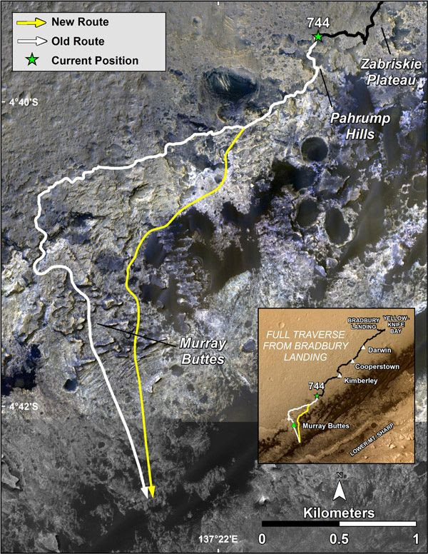 This image (which uses data acquired by NASA's Mar Reconnaissance Orbiter) shows the old and new routes of the Curiosity Mars rover to the base of Mount Sharp.