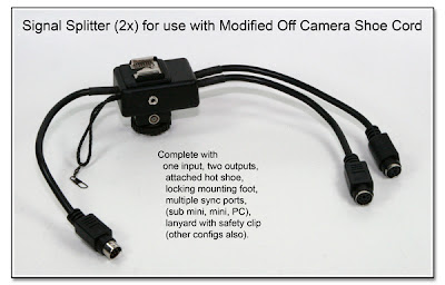 Signal Splitter (2x) and Trigger Breakout Box for use with the Modified Off Camera Shoe Cord