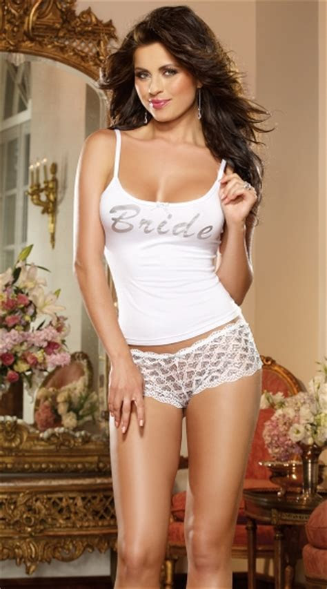 First Kiss Bridal Tank And Panty, Bride Camisole, Bride