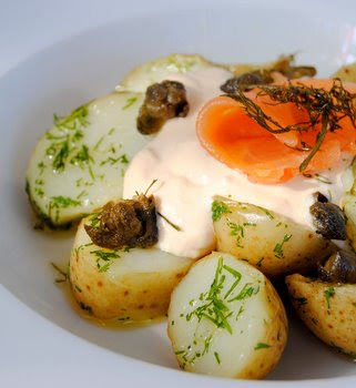 Dill Baby Potatoes with Smoked-Salmon Mayonnaise, Deep-Fried Capers and Frizzled Dill