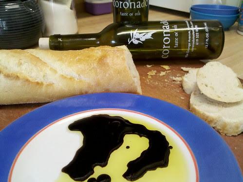 Oil, vinegar, bread