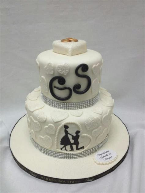 White Two Tier Engagement Cake   CakeCentral.com