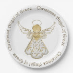 Gold Metallic Filigree Christmas Angel of Grace 9 Inch Paper Plate