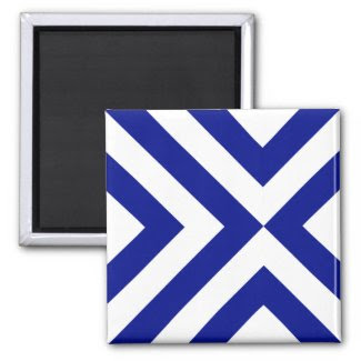 Blue and White Chevrons Fridge Magnet