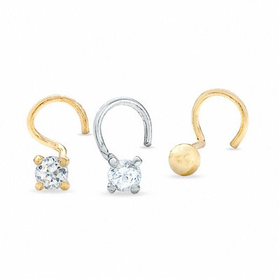 14k Gold Cubic Zirconia Nose Stud Set Available In Store Peoples