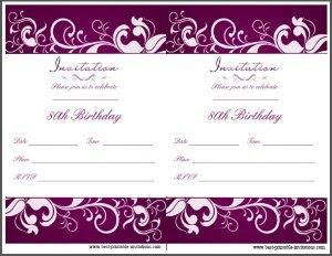 Free Printable 80th Birthday Invitation Cards - Wedding Invitation ...