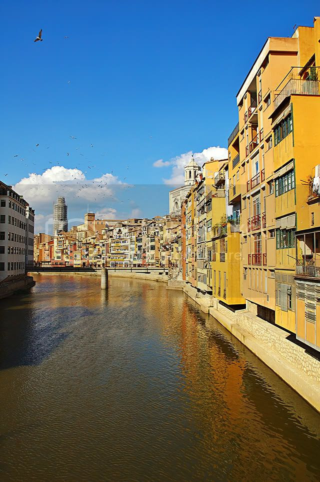 Colorful Houses by the Onyer River in Girona