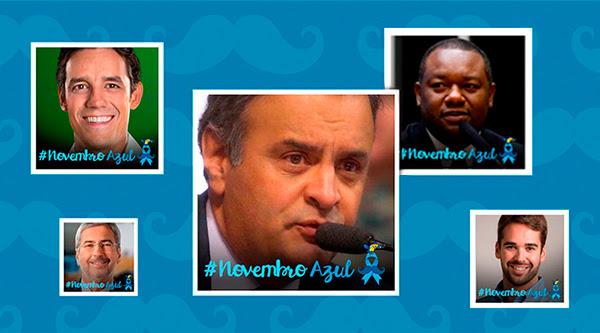 Abaixo, vemos fotos de lideranças tucanas (Daniel Coelho, Antonio Imbassahy, Aécio Neves, Antonio Imbassahy, Juvenal Araújo e Eduardo Leite) com o avatar da campanha. As fotos estão sobre um fundo azul escuro com texturas do bigode da campanha.