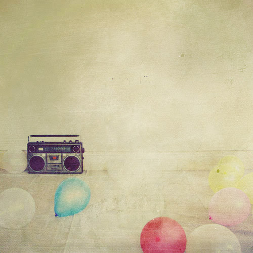 red balls and an old radio