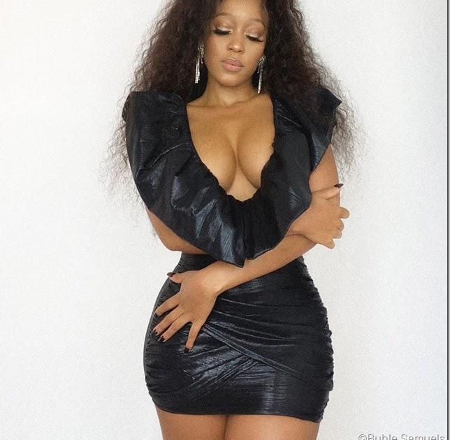 #StyleEbony: Buhle Samuels usa mini vestido preto decotado