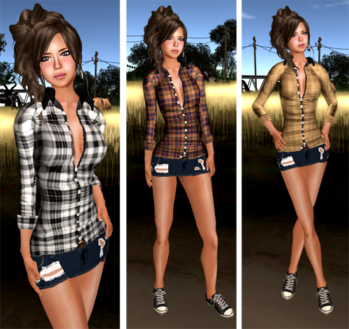 [M2M]..::Cowboy*Plaid Shirt & Ripped Mini Skirt::..