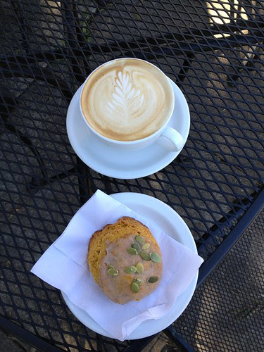 Evidence - Harvest Moon (chai latte) and scone at Blend