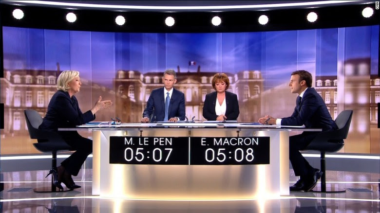 Le Pen and Macron faced each other in a bad-tempered TV debate.