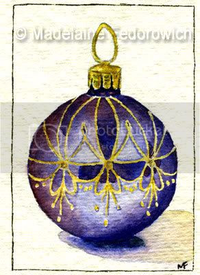 Blue Christmas Bauble ACEO
