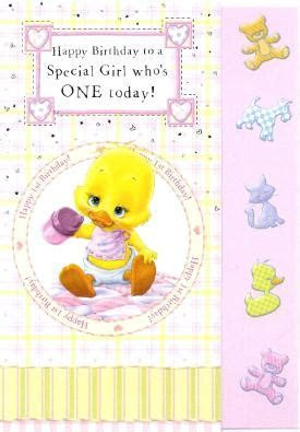 Girls Wuvable Duck 1st Birthday Card