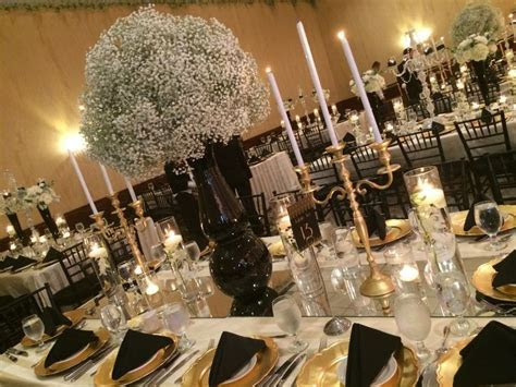 roaring 20s, centerpiece, babes breath, black, white, gold