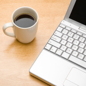 Coffee and laptop square