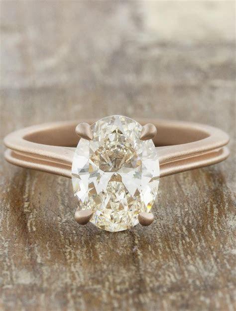 Queenie: Modern Rose Gold, Oval Diamond Ring   Ken & Dana