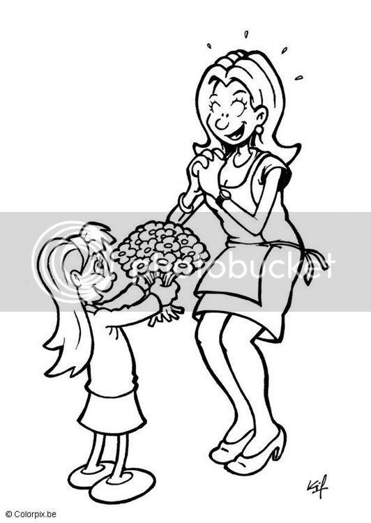 Okul öncesi Anneler Günü Boyama Sayfaları