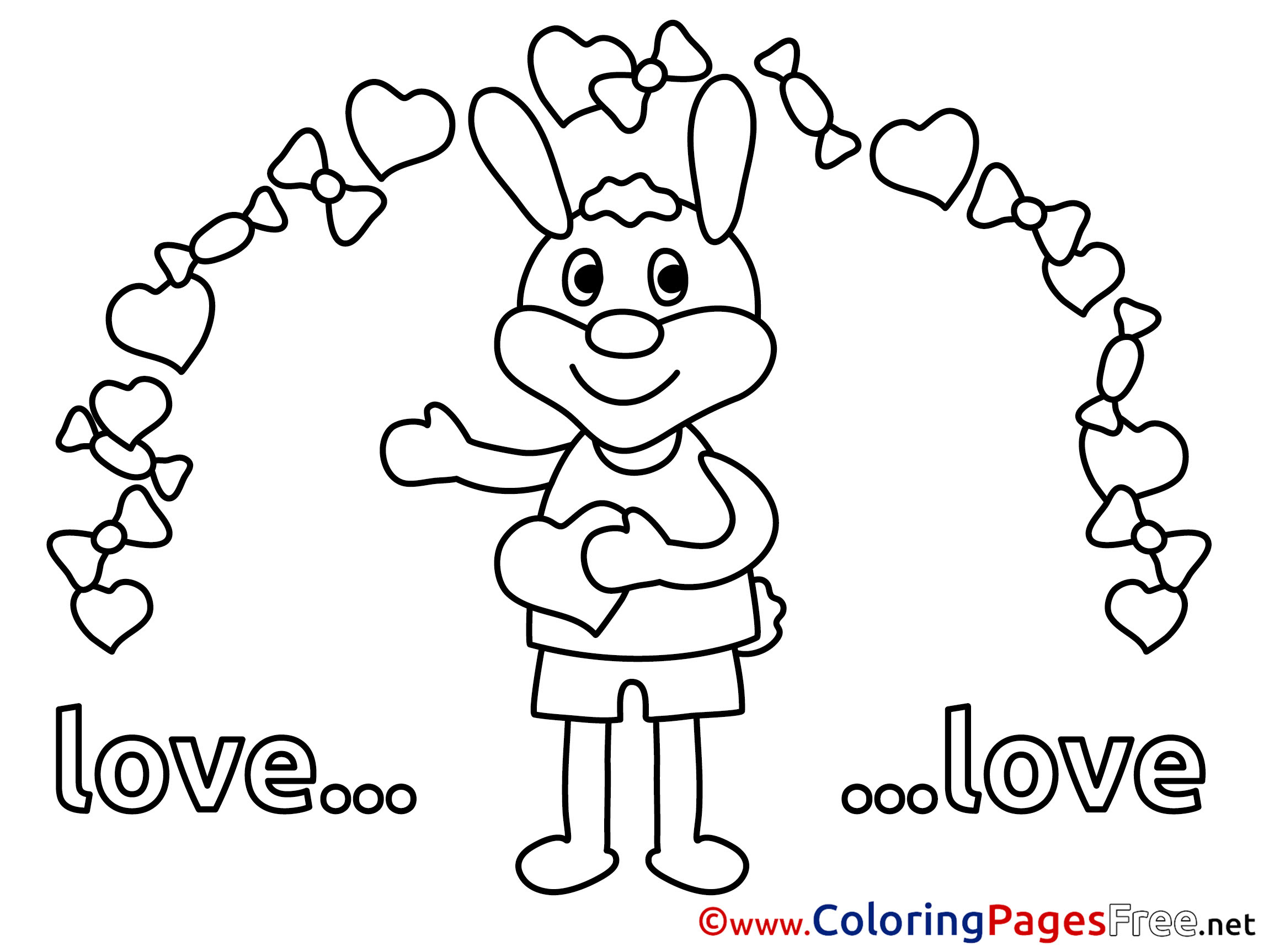 Children Valentine's Day Rabbit Colouring Page