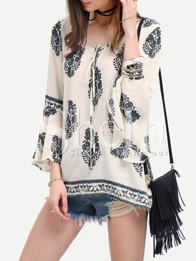 Black White Print Bell Sleeve Lace Up Blouse pictures